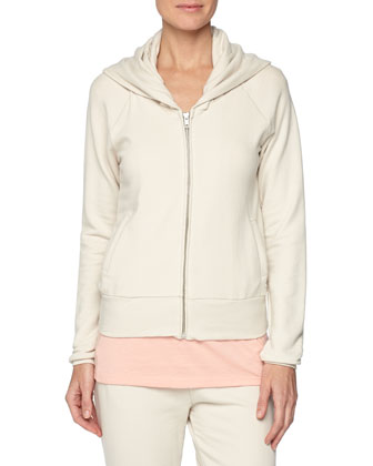 French-Terry Front-Zip Jacket, Easy V-Neck Cotton Tee & French-Terry Skinny ...