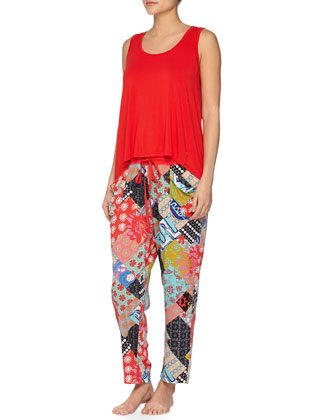 Laelia Patchwork Lounge Pants, Red Pattern