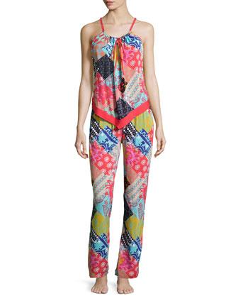 Laelia Patchwork Sleeveless Pajama Set, Multicolor