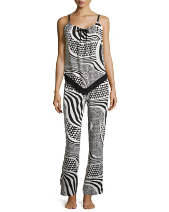 Woodcut Sleeveless Pajama Set, Black/White