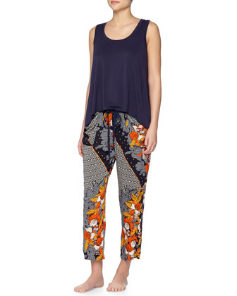 Kinali Diamond & Floral-Print Lounge Pants, Multi
