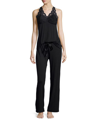 Belle Epoque Lace-Inset Pajama Set, Black