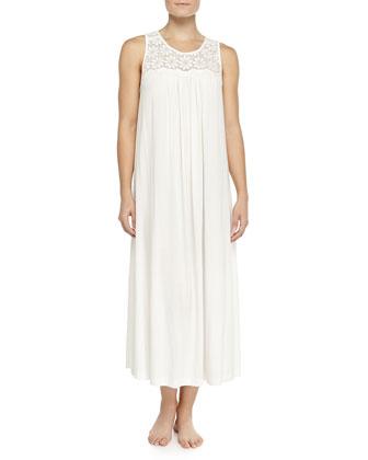 Heirloom Trellis Long Tank Gown, Ivory