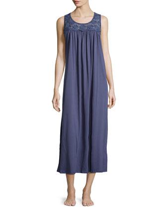 Heirloom Trellis Lace-Trim Sleeveless Nightgown, Blue
