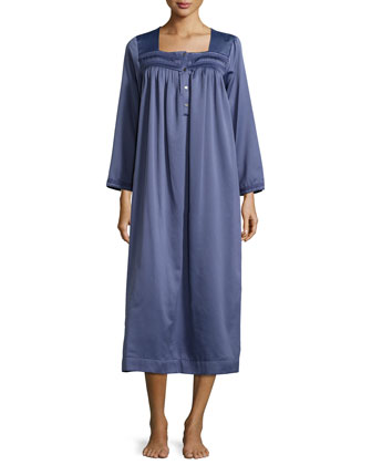 Cozy Elegance Pleated Long-Sleeve Nightgown, Dark Periwinkle