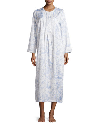 Soft Magnolia Lace-Trim Nightgown, Ivory/Blue