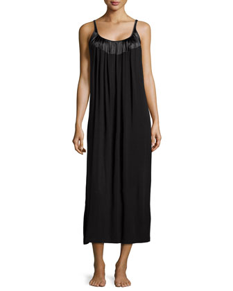 Touch of Charmeuse Sleeveless Nightgown, Black