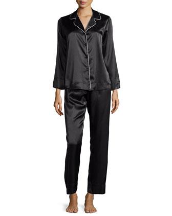Piped Charmeuse Pajama Set, Black