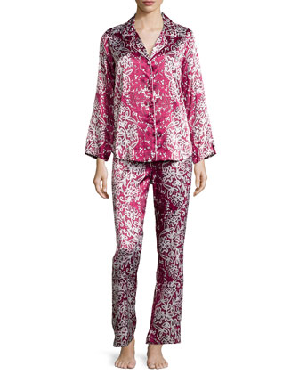 Imperial Lace Long-Sleeve Pajama Set, Pinot/White