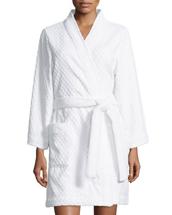 Spa Retreat Embossed Terry Short Robe, White