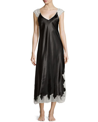 Lace Luster Sleeveless Gown, Black