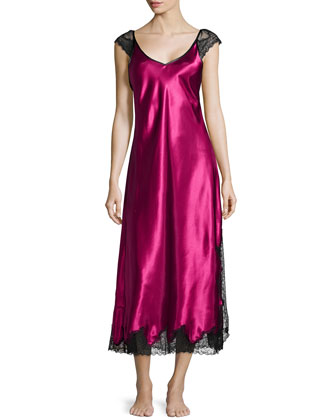 Lace Luster Sleeveless Gown, Cranberry