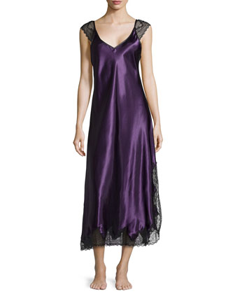 Lace Luster Sleeveless Gown, Purple