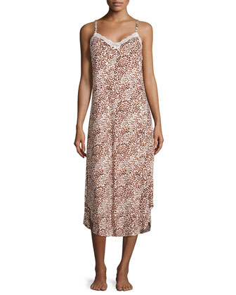 Boudoir Lace Printed Sleeveless Gown, Cheetah