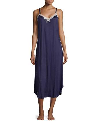Boudoir Lace Sleeveless Nightgown, Indigo