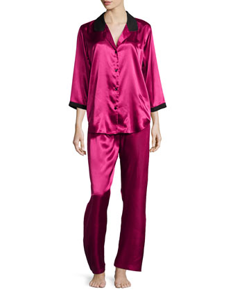 Winter Roses 3/4-Sleeve Pajama Set, Cranberry