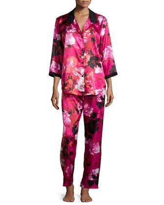 Winter Roses Floral 3/4-Sleeve Pajama Set, Pink Floral