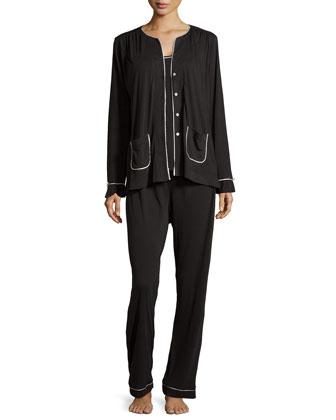 Quintessential Classic Three-Piece Pajama Set, Black