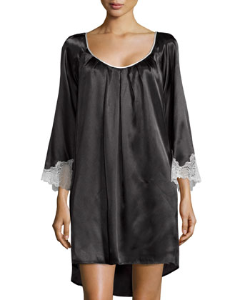 Lace Luster 3/4-Sleeve Short Nightgown, Black