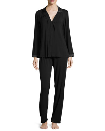 Touch of Charmeuse Long-Sleeve Pajama Set, Black