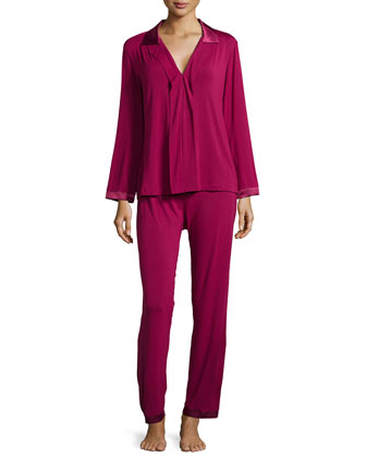 Touch of Charmeuse Long-Sleeve Pajama Set, Pinot