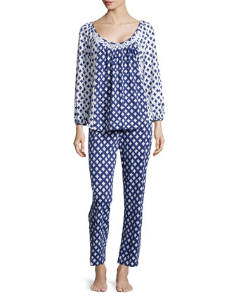 Ocean Breeze Floral-Print Pajama Set, Navy/White
