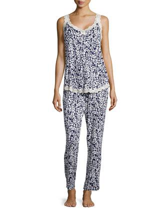 Boudoir Lace Printed Sleeveless Pajama Set, Navy/Ivory