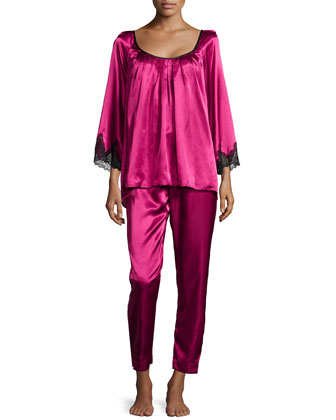 Lace Luster 3/4-Sleeve Pajama Set, Cranberry
