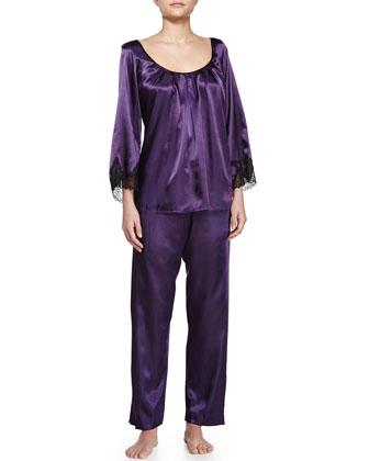 Lace Luster 3/4-Sleeve Pajama Set, Purple
