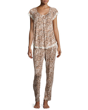 Boudoir Lace Printed Short-Sleeve Pajama Set, Cheetah