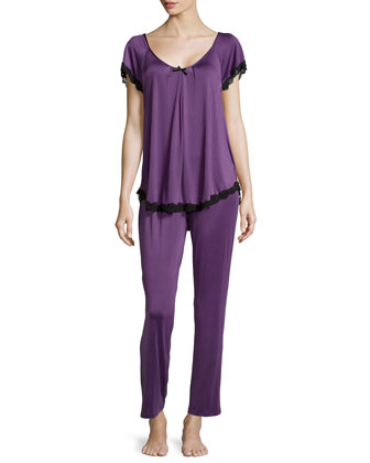 Boudoir Lace Short-Sleeve Pajama Set, Purple