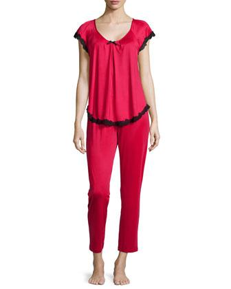 Boudoir Lace Short-Sleeve Pajama Set, Red