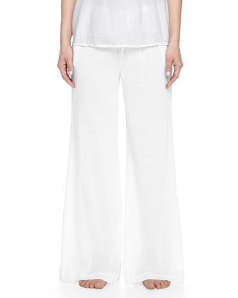 Cotton Tank & Cropped Palazzo Lounge Pants, White