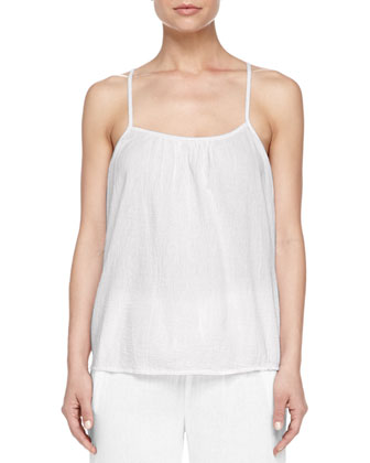 Cotton Gauze Lounge Tank, White