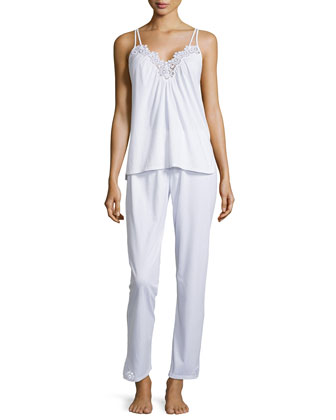 Cotton Cluny Lace-Trim Pajama Set, White