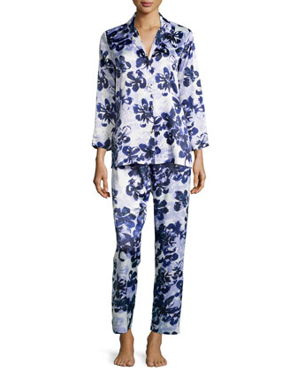 Magnolia Reflections Printed Pajama Set, Blue/Purple