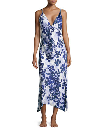 Magnolia Reflections Floral-Print Gown, Blue/Purple