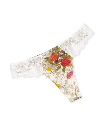 Kyoto Floral & Lace-Trimmed Underwire Bra & Lace-Trim Thong