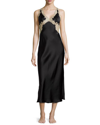 Lorena Lace-Trim Open-Back Nightgown, Black/Tan