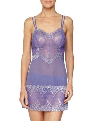 Embrace Sheer Lace Chemise, Blue Iris