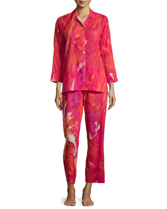 Malibu Lagoon Two-Piece Pajama Set, Cherry Red