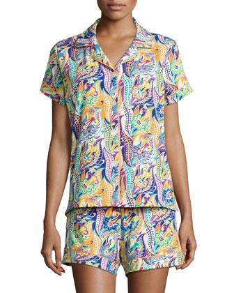 Classic Shorty Pajama Set, Blue Pattern