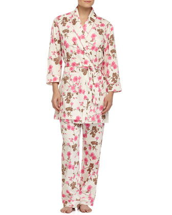 Cherry Blossom-Print Short Robe, Pink Pattern