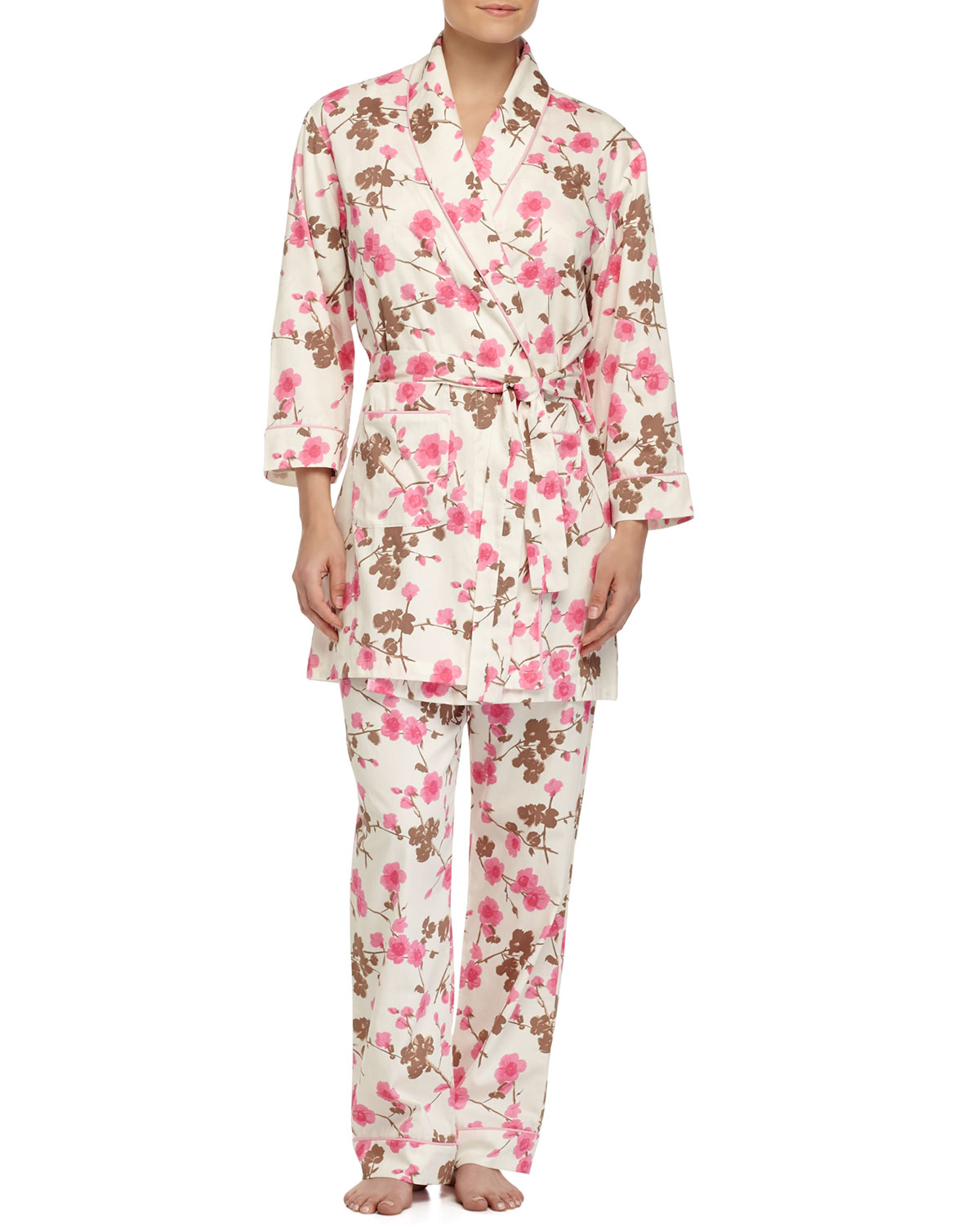 Cherry Blossom-Print Short Robe, Pink Pattern, Size: LARGE/X-LARGE - Bedhead