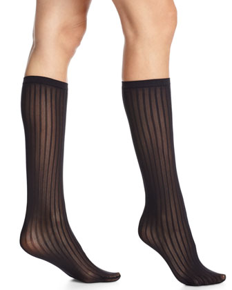Stripe-Pattern Knee-High Socks