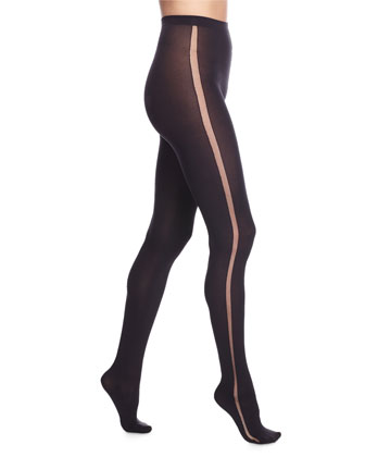 Claudia Tuxedo-Stripe Sheer Tights, Black