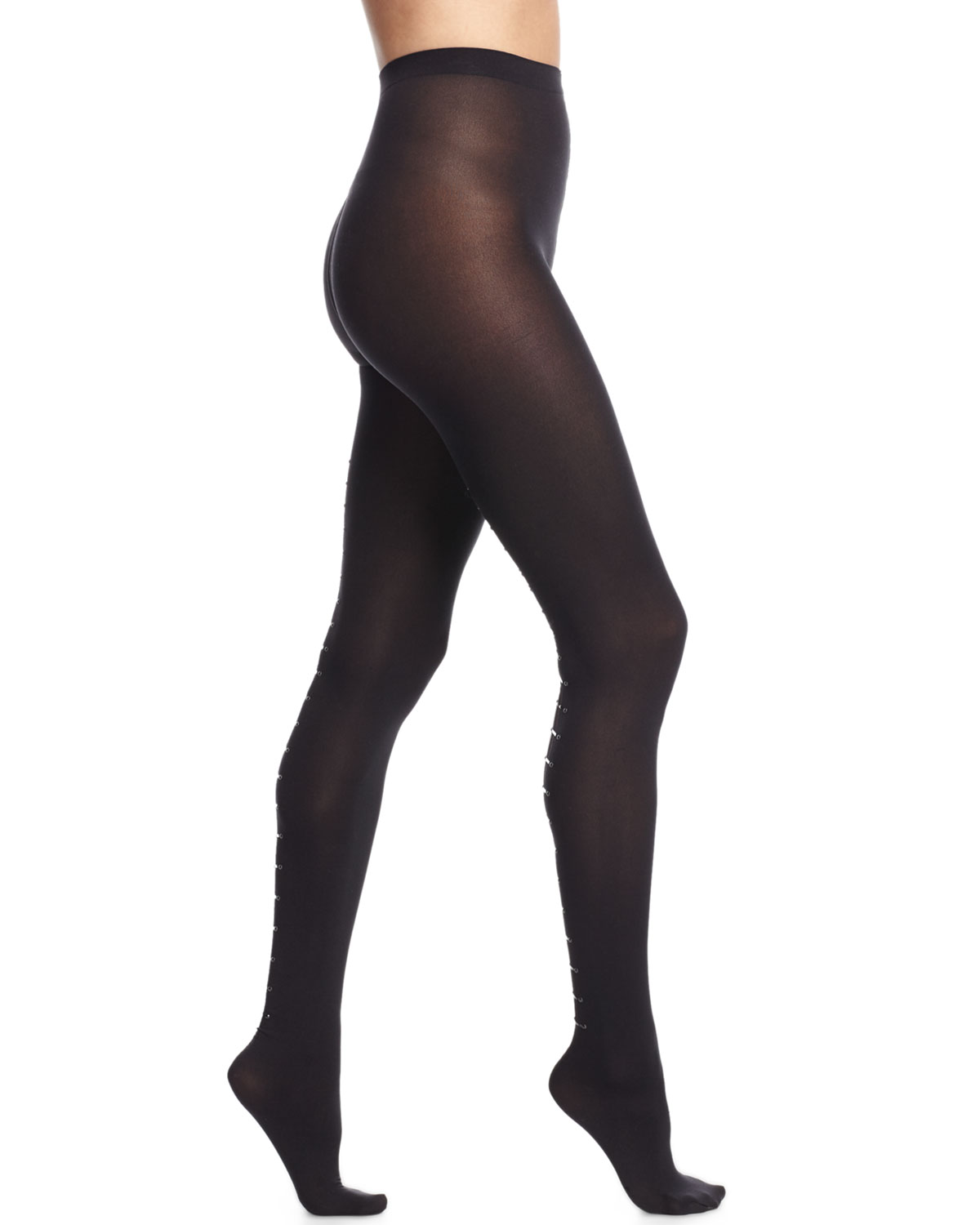 Carrie Tights with Back-Bar Design, Black, Size: LARGE - Wolford