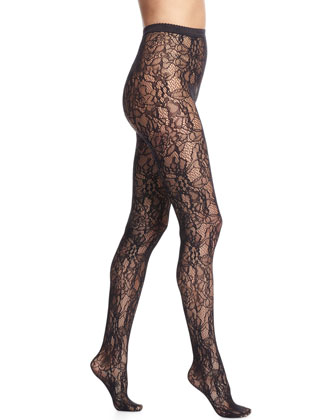 Clair Elaborate Lace Tights, Black