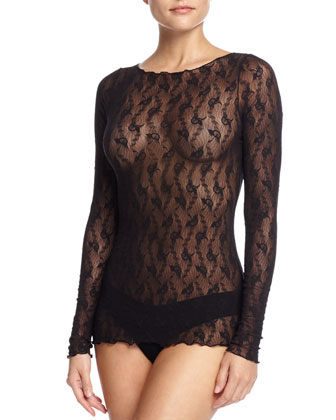 Lilie Sheer-Lace Pullover Top, Black