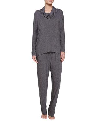 Liquid Jersey Pajama Set, Dark Gray